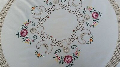 Vintage Hand Embroidered Round Table Cloth