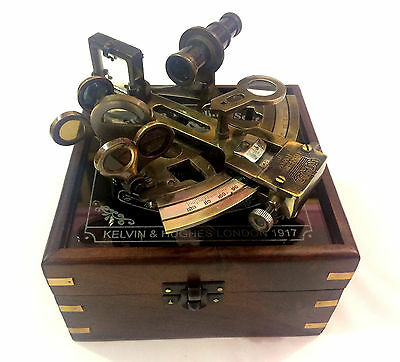 Kelvin & Hughes Antique Nautical German Pattern Working Sextant With Wooden Box