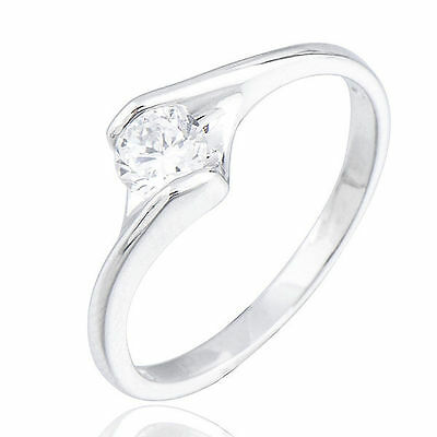 womens White Gold Filled clear Crystals Ladies Wedding promise Rings Size 10