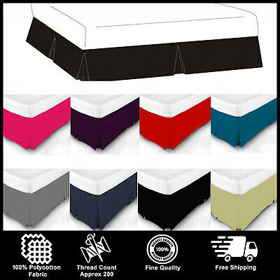 Luxury Plain Dyed Base Valance Sheet Box Pleated Poly Cotton Bed Sheet All Sizes