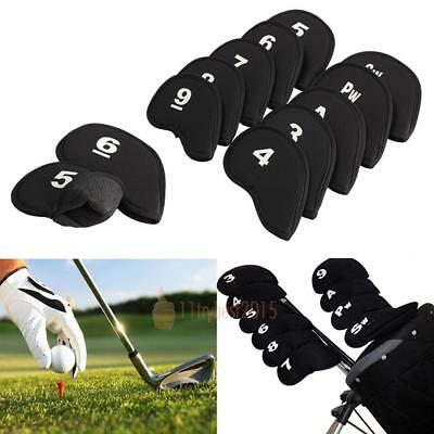 10pcs Neoprene Golf Club Iron Putter Headcovers Head Cover Protect Case Set Fit