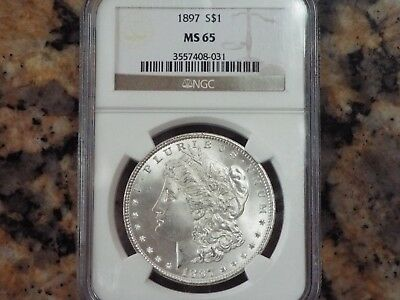 $345 VALUE!  1897-P Morgan Silver Dollar, NGC MS-65!