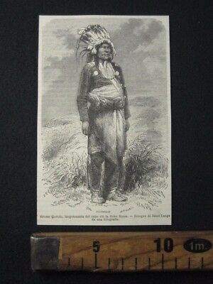 1868 Indiani D' America Pelle Rossa Sioux Antica Incisione Stampa Engraving A8