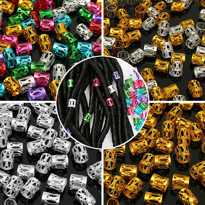 100X Mixed Color 8mm Dreadlock Beads Hair Braid Adjustable Cuff Tubes Clips