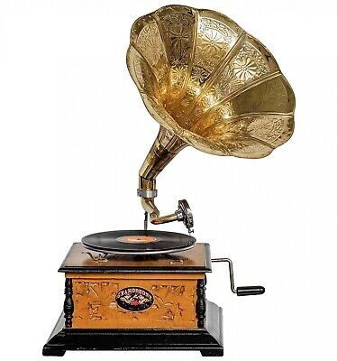 Antique style gramophone complete with horn  decorative wooden base (h)
