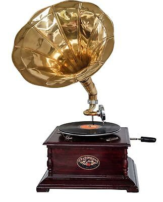 Antique style gramophone complete with horn  decorative wooden base (g)