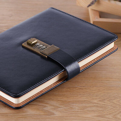 Retro Leather Blank Pages Travel Journal Diary Notebook Sketchbook with Password