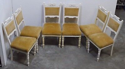 6 Victorian White Painted & Gilt French Country Style Upholstered Chairs (206)
