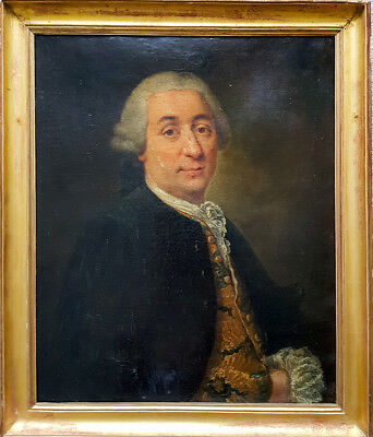 18th Century French Portrait of a Gentleman Old Antique Oil Painting