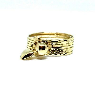 18Ct Yellow Gold Bell/heart Multiband Dress Ring 4.1Grams