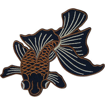 Fish Patch Iron Sew On Embroidered Badge Embroidery Applique Black Moor Goldfish
