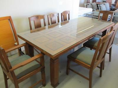Stunning Large Rectangular Carved Dining Table With Glass Top & 7 Chairs