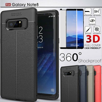 360° Hybrid Leather Case Cover+ Tempered Glass F Samsung Galaxy S9 Plus Note8 S8