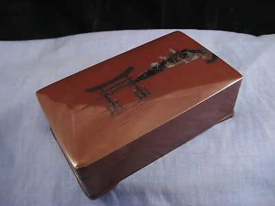 Antique Japanese Miyajima Mixed Metal Shakudo Trinket Box Nogawa Silver Gold