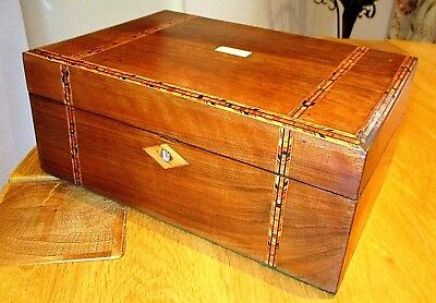 Victorian Walnut Writing Slope,inlay Bands,nice Clean Interior,bone Cartouche.