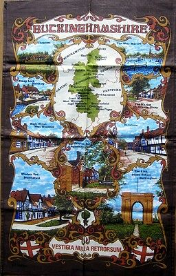 Tea Towel Buckinghamshire Scenes England 100% Cotton Pictorial Unused