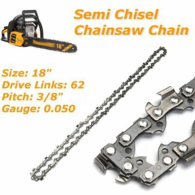 """18"""" 3/8"""" 0.050"""" 62DL Semi Chisel Chainsaw Chain Blade for Poulan for Homelite"""
