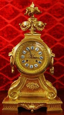 Antique French 19th c gilt bronze 8 day bell strike mantle clock