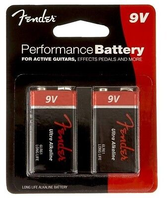 Fender Performance 9V Battery For Active Guitars, Effects Pedals & More - 2 Pack
