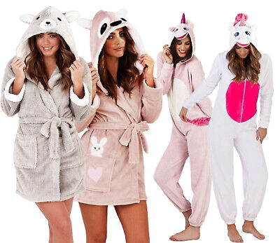 Ladies 3D Soft & Cosy Animal Design Novelty Hooded Girls Dressing Gown Robes