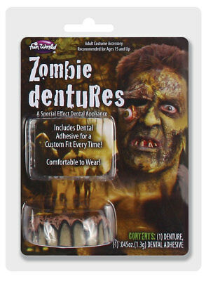 ZOMBIE DENTURES FAKE ROTTEN TEETH Halloween Zombie Undead Accessory 7890ZOMB