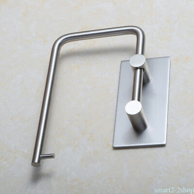 Self Adhesive 304 Stainless Steel Firm Toilet Paper Towel Holder Storage Shelf V