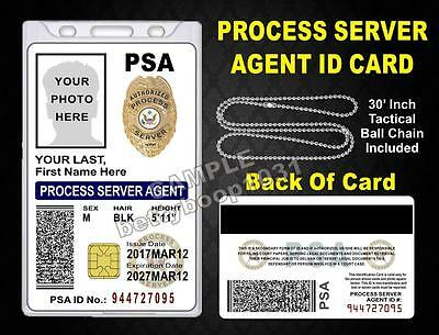 Process Server Agent ID Card / Badge >CUSTOM WITH YOUR PHOTO & INFO< PSA USA