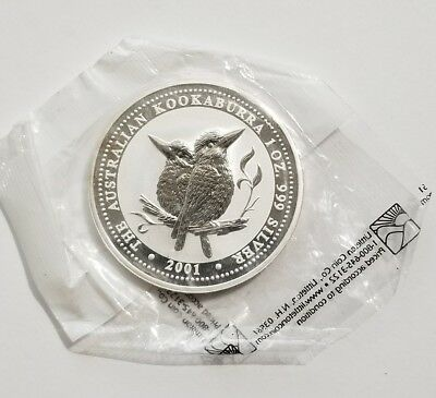 2001 Australia $1 Kookaburra Silver Frosted Proof UNC w/ Original Sealed Package