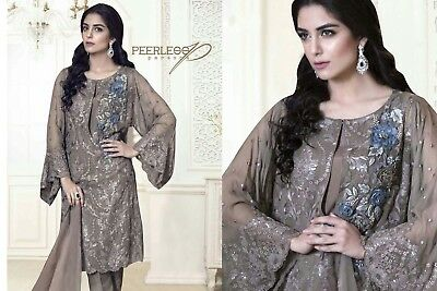 Gray Unstitched Georgette Embroidered Salwar Suit With Nazneen Dupatta Heena- 03