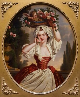 18th Century Portrait of Girl Basket of Flowers Cupid Old Antique Oil Painting