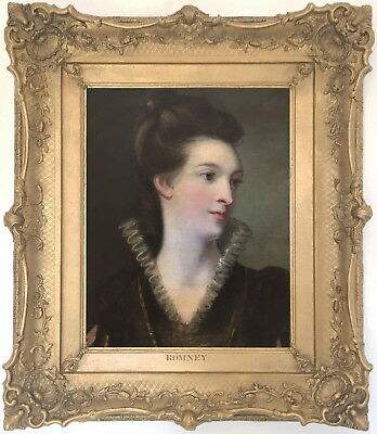 Portrait of a Lady Antique Oil Painting follower of George Romney (1734-1802)