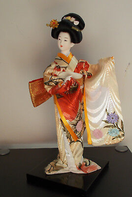 Vintage  Japanese Geisha Doll in Silk Garment Kimona