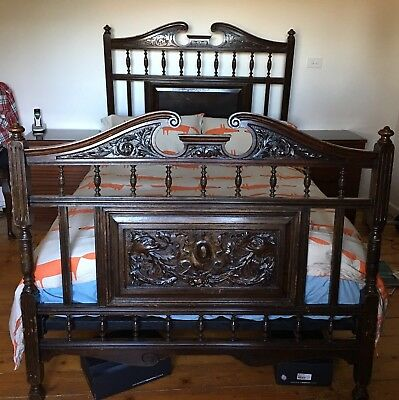 Antique Mahogany Timber Hand Carved Double Bed