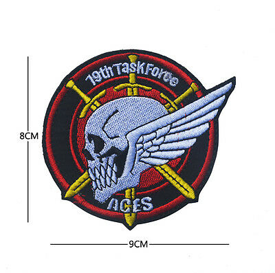 19th task force aces ARMY MILITARY MORALE EMBROIDERED HOOK PATCH AA+ 955