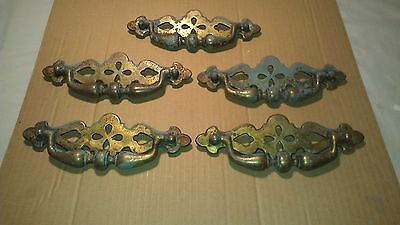 Lot Of 5 Vintage Ornate  Brass Drawer Cabinet Furniture Pulls Handle 7-1/8""