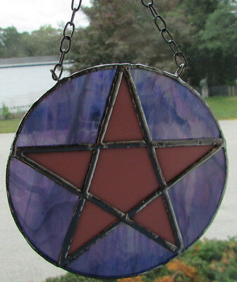 Hand Crafted Stained Glass Pentacle Star Suncatcher Mauve/Purple Wicca Pagan