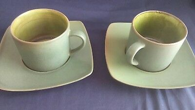 Carraig Donn Irish Pottery  x 2 Cups & Square Saucers - Two-ToneDark Green -Used