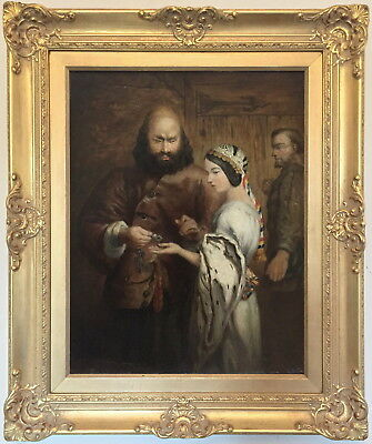 Shylock and Jessica Antique Shakespeare Oil Painting 19th Century English School