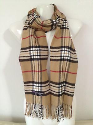 Wholesale 12Pcs 100% Cashmere Scarf Made In Scotland Plaid Beige Super Soft