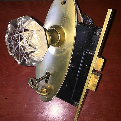 Antique RareChicago Niles Brass Door Lock With Glass Knobs And Solid Backplates