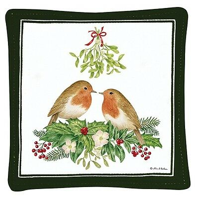 Alice's Cottage Cotton Scented Spiced Mug Mat Coaster Love Birds MIstletoe - NEW