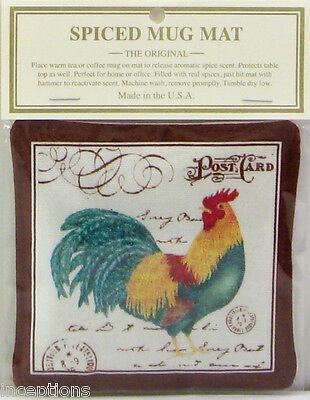 Alice's Cottage Cotton Scented Spiced Mug Mat Coaster Rooster Teal - NEW
