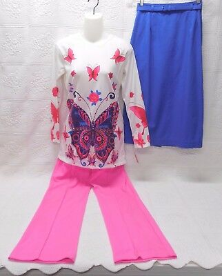 Color! Vintage Knit Weekender Outfit-3 Pc-Butterfly Top, 1969 Pants, Blue Skirt