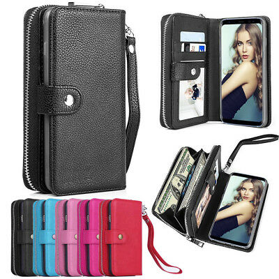 Zipper Wallet Magnetic Leather Stand Cover Case for Samsung Galaxy Note 9 S8+ S9