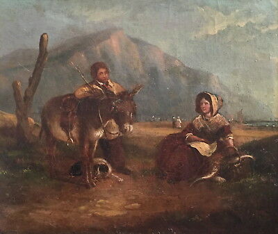Fisherfolk on the Coast Antique Oil Painting circle of William Shayer (1787-1879