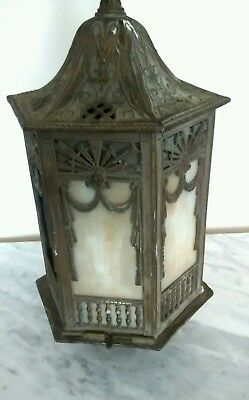Antique Art Deco Mission Cast Iron  Slag Glass Hanging Lamp Light Fixture...BIG!