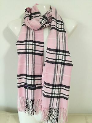 Wholesale 12Pcs 100% Cashmere Scarf Made In Scotland Plaid Pink Super Soft