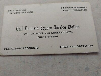 Vintage GULF Fountain Square Service Station Chattanooga Tennessee Business Card