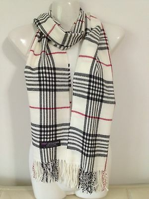 Wholesale 12Pcs 100% Cashmere Scarf Made In Scotland Plaid White Super Soft