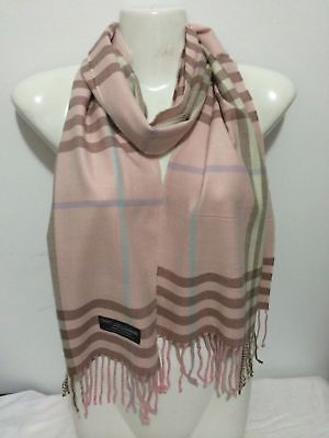 Wholesale 12Pcs 100% Cashmere Scarf Made In Scotland Big Plaid Pink Super Soft